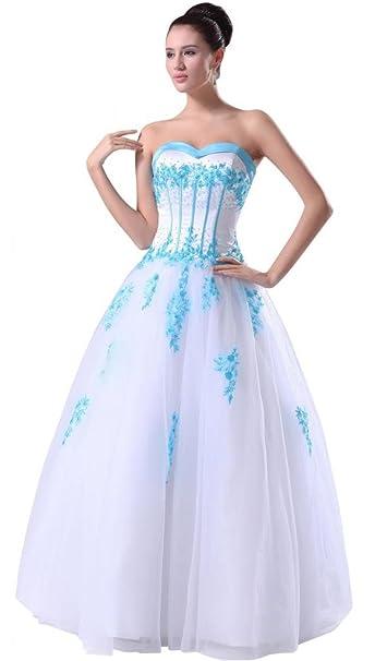 George Bride Drama Mesas bodenlangen boda vestido con aplicaciones azules y perlas Vestidos de novia Vestidos