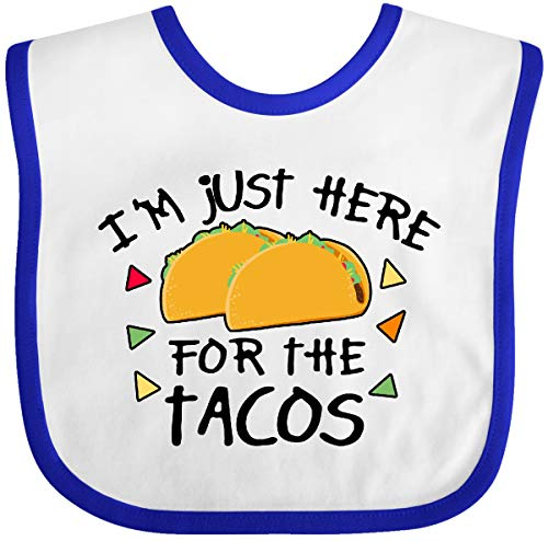 Inktastic Im Just Here for The Tacos Cinco De Mayo Baby Bib White/Royal