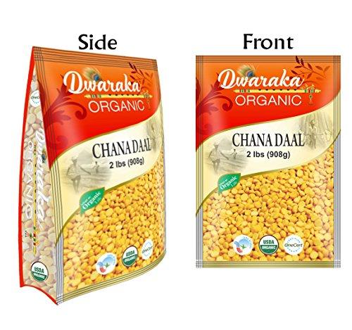 Dwaraka Organic Chana Dal Chickpeas Washed Split Lentil USDA Organic (2 lbs / 908 g) by Dwaraka Organic