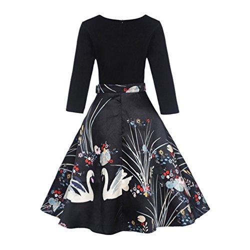 a41e79ad077257 ... Rockabilly Schwan Kleid Abendkleider Kleider Cocktailkleid Damen  Weihnachtskleid Partykleid 50s 3 4-arm Festlich Swing ...