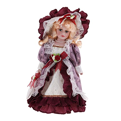 CUTICATE 30cm Vintage Porcelain Doll with Golden Curly Hair, Creative Valentin Gifts for Girlfriend, Dollhouse People Decor