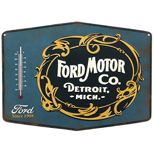 ford-motor-co-embossed-tin-thermometer-sign-garage-decor-14-x-10