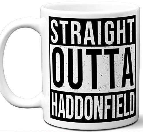 Gift Mug For Halloween Movies Fan. Straight Outta Haddonfield. Funny Him Her Coffee Tea Women Men Birthday Christmas Fathers Day Mothers -