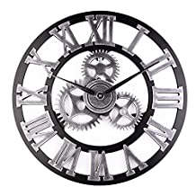 Industrial Wall Clock Handmade 3D Wooden Gear Clock Large Rustic Decorative Wall Clock Big European Retro Vintage Clock Wall Decor for Retro Style Living Room / Office / Bar / Restaurant Decoration