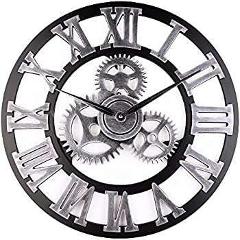 industrial wall clock handmade 3d wooden gear clock large rustic decorative wall. Black Bedroom Furniture Sets. Home Design Ideas