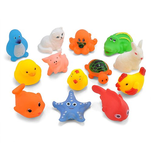 Yimosecoxiang New Popular Children's Toys 13Pcs Baby Kid Animal Duck Rabbit Cat Bath Time Squeaky Water Floating Toys