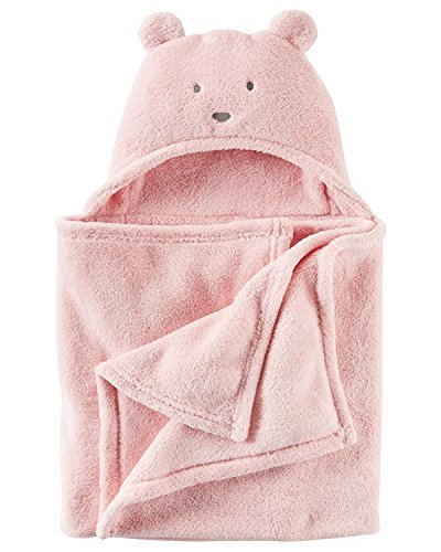 "Carters Baby Girls Hooded Sherpa Bear Super Soft Pink Blanket 40""x 28"""