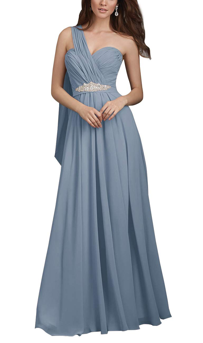 24794bbe34 One Shoulder Bridesmaid Dresses Long Chiffon Beaded A-line Formal Evening  Gown Dusty Blue 12