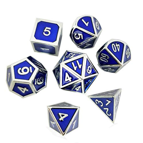 Yiotfandoll 7PCS Zinc Alloy Metal Dice Polyhedral Dice D20 D12 D10 D8 D6 D4 for Dungeons and Dragons DND RPG MTG Dice Table Games 16mm Blue Silver with Bag