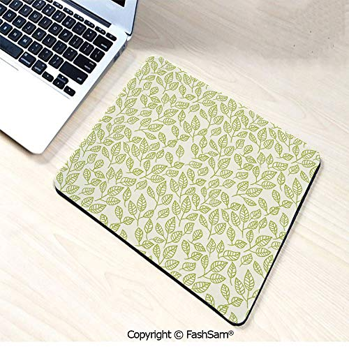 (Desk Mat Mouse Pad Watercolor Green Tea Leaves and Branches Lines and Patterns Contemporary Illustration for Office(W9.85xL11.8))