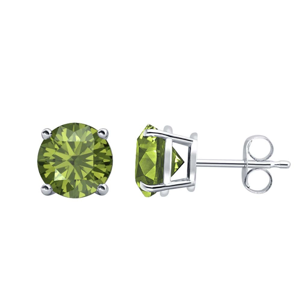 Fancy Party Wear Round Cut Green Tourmaline Solitaire Stud Earrings 14K White Gold Over .925 Sterling Silver For Womens /& Girls 6MM