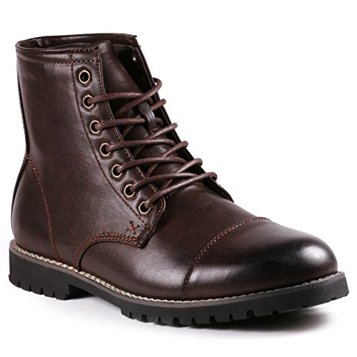 Metrocharm MC301 Men's Lace Up Cap Toe Formal Dress Casual Fashion Boots (10 D(M) US, Brown)