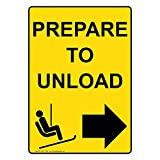 ComplianceSigns Vertical Aluminum Prepare To Unload [Right Arrow] Sign, 14 x 10 in. with English Text and Symbol, Yellow