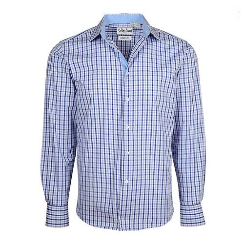(Men's Checkered Plaid Dress Shirt - Purple, X-Large (17-17.5) Neck 34/35 Sleeve)
