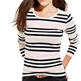Tommy Hilfiger Womens Striped Jewel Neck Pullover Top Pink XXL