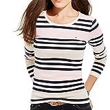 Tommy Hilfiger Womens Striped Jewel Neck Pullover Top Pink XXL