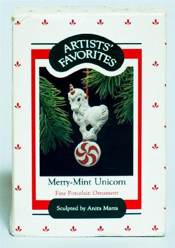 Hallmark 1988 Artists Favorites Fine Porcelain Keepsake Holiday Christmas Ornament Merry-mint Unicorn Sculpted By Anita Marra