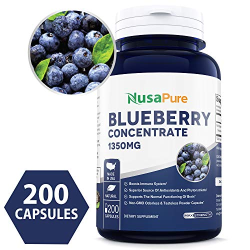 Best Wild Blueberry Concentrate 1350mg 200 Powder caps - Made from Organic Berries | Non-GMO & Gluten Free - Packed with Antioxidants |100% Money Back Guarantee - Order Free Risk!