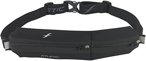 Fitletic Neo II Running Belt Patented Zero Bounce Technology for Running, Jogging, Walking, Cycling, Workout, Travel Double Pouch Sport Belt, N02