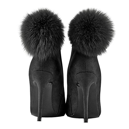UMEXI Pointed Toe Ankle High Boots Suede High Heel Pumps Party Wedding Stilettos for Women Black 5XRGn