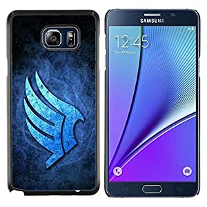 KLONGSHOP // Cubierta de piel con cierre a presión Shell trasero duro de goma Protección Caso - Alas Azules - Samsung Galaxy Note 5 5th N9200 //