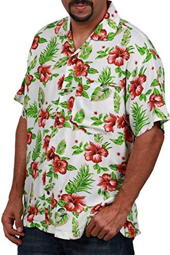 Flower Shirts Red (Ingear Casual Shirt Button Down Hawaiian Short Sleeve Cruise Rayon Summer Shirt,White/Red Flower XXL)