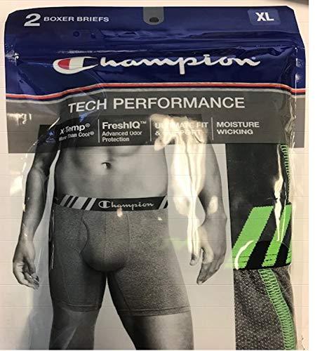 Champion Men's Tech Performance Boxer Brief Black/Dynamic, Grey Heather, Large