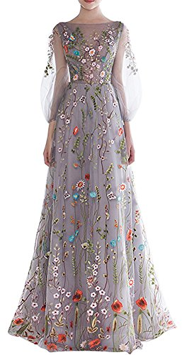 Honeydress Women's Floral-Embroidered Long Sleeve Maxi Dress Prom Gown