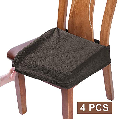 BUYUE Dining Room Chair Covers Washable Jacquard Stretch Seat Cushion Protector for Upholstered Chair Slipcover (Style B,Set of 4, Brown)