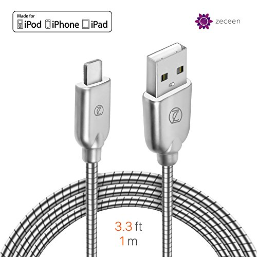 ZECEEN Metal USB Lightning Cable - Fast Charging & Data Transfer Cord (3.3 ft) - Almost Unbreakable - Bending & Weather Resistant - Compatible with iPhone XS/XR/X/8/7/6s/6/5s/5/SE, iPad Pro/Air/Mini