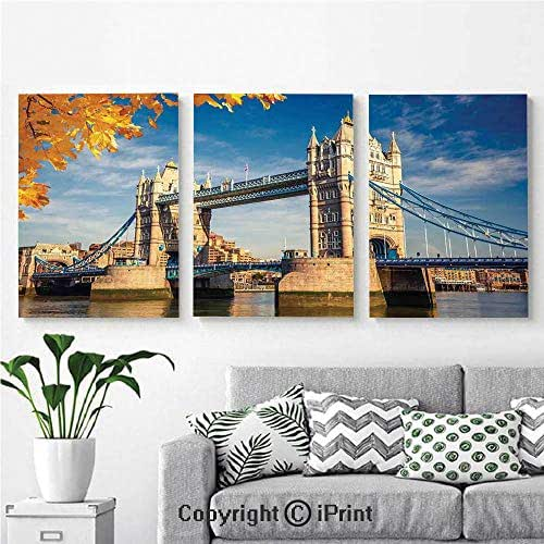 AngelSept Modern Salon Theme Mural Historical Construction Tower Bridge with Mossy Abutments Autumnal Leaves Painting Canvas Wall Art for Home Decor 24x36inches 3pcs/Set, Yellow Blue Ivory