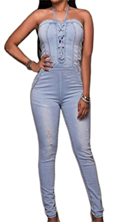 554385ff5436 Image Unavailable. Image not available for. Color  SYTX Women s Sexy  Pockets Lace Up Halter Bandage Denim Romper Jumpsuits Light ...