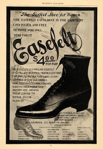 1898 Ad Easefelt Shoe Boot Leather Footwear Clothing - Original Print - Footwear Clothing