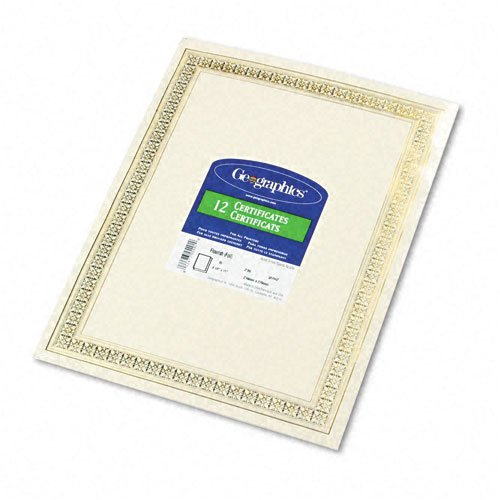 Geographics : Foil Enhanced Certificates, 8-1/2 x 11, Gold Flourish Border, 12 per Pack -:- Sold as 2 Packs of - 12 - / - Total of 24 Each - Geographics Foil Enhanced Certificates