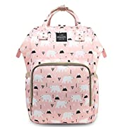 HaloVa Diaper Bag Multi-Function Waterproof Travel Backpack Nappy Bags for Baby Care, Large Capacity, Stylish and Durable, Pink Bear
