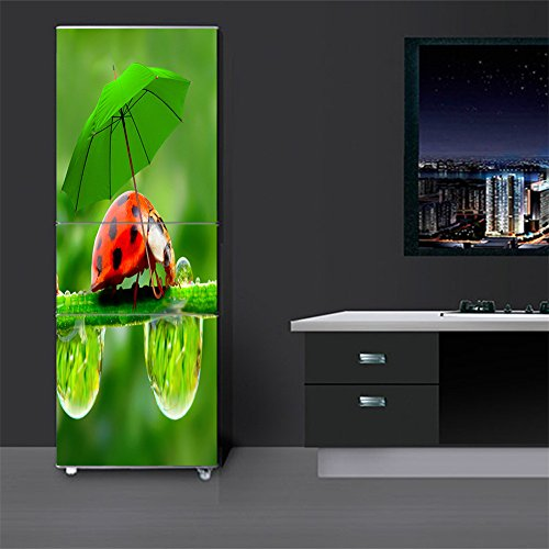 3D Door Fridge Stickers Mural Decals-Insect Umbrella Self-Adhesive Door Wallpaper Waterproof Full Cover Door Refrigerator Sticker Peel and Stick Vinyl Wall Stickers Decal Art Home Decor (23.6 X 59.1)