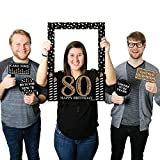 Big Dot of Happiness Adult 80th Birthday - Gold - Birthday Party Selfie Photo Booth Picture Frame & Props - Printed on Sturdy Material