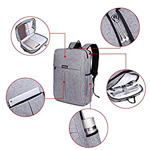 "Garybank Waterproof Slim Laptop Backpack For Women Men Both Top Loader and Panel Loader Business Backpack Good For College School Travel Shoulder Tech Bag Up to 16"" Laptop & Notebook Gray"