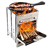 Gorge-buy Camping Stove Wood Burning Stove - Potable Folding Stainless Steel Stove, Picnic BBQ Cooker Backpacking Stove for Outdoor Camping Hiking Picnic BBQ