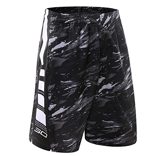 1Bests Mens Athletic Running Quick-Drying Breathable Basketball Loose Shorts with Zip Pockets (L, 6020-White)