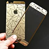 Zocardo 3D Diamond Mirror Front Back Tempered Glass Screen Protector for Apple iPhone 5s - Gold with Free Soft Transparent Back Cover Worth Rupee 200