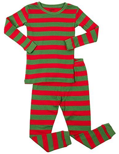 Leveret Red & Green Striped 2 Piece Pajama Set 100% Cotton 12-18 Months
