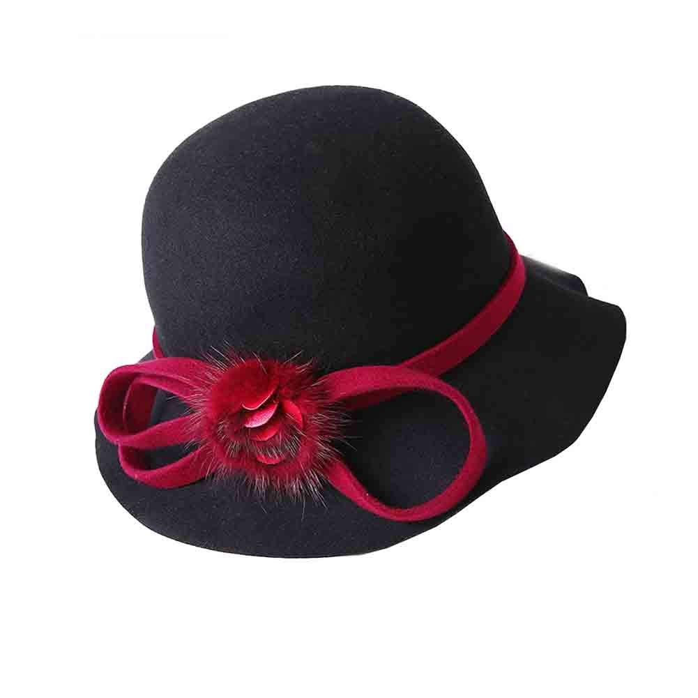 Black red SUNNY Cloche Bucket Hats for Women,Elegant Solid color Winter Hat 100% Natural Fiber Church Bowler Hats with Cute Ball Accent (color   Purple)