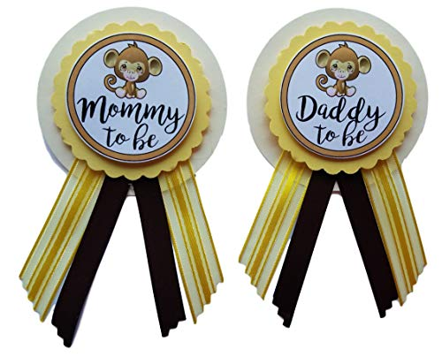 (Mommy & Daddy to Be Monkey Pins Baby Shower Yellow Brown pin wear at Baby Shower, Baby Sprinkle)