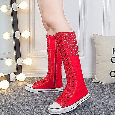 Heart&M Mujer Zapatos Tela Otoño Invierno Botas de Moda Botas Media plataforma Hasta la Rodilla Remache Para Casual Fiesta y Noche Blanco Negro