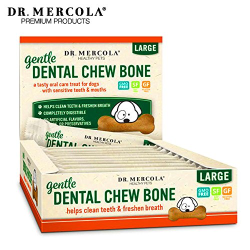 Dr. Mercola Gentle Dental Chew Bones - 12 Pack - Large Dogs 25 lbs and Up - Helps Clean Teeth and Freshen Breath - A Completely Digestible Tasty Oral Care Treat for Older Dogs