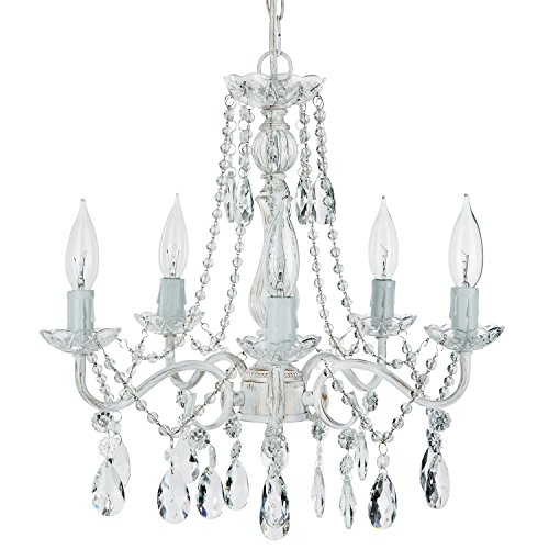 Elizabeth Antique White Washed Crystal Chandelier, Mini Swag Plug-In 5 Light Glass Pendant Wrought Iron Ceiling Lighting Fixture Lamp
