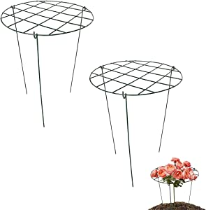 S-SNAIL-OO 2 Pcs Flower Support Rings, Peony Cage Plant Support Stake,Grow Through Grid Plant Brace, Hoops with 3 Pcs Legs for Heavy Blossoms (2 pcs 24