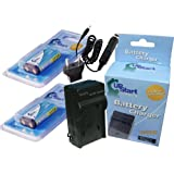 2x Pack - Pentax CRV3 Battery + Charger with Car & EU Adapters - Replacement for Pentax CR-V3 Digital Camera Battery and Charger (1300mAh, 3.3V, Lithium-Ion)