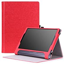 MoKo Lenovo Yoga Tab 3 Plus / Lenovo Yoga Tab 3 pro 10 Case - Slim Folding Cover Case for Lenovo Yoga Tab 3 Plus 10.1/ Lenovo YOGA Tab 3 Pro 10.1 Inch Tablet, RED